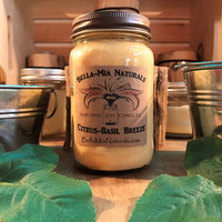 Citrus-Basil Breeze Natural Hand Poured Soy Candles