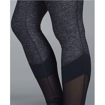 """lululemon"" Fashion Print Net yarn Splicing Exercise Fitness Gym Yoga Running Leggings"