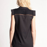 Cameo Sleeveless Blouse With Mandarin Collar in Floyd Black by Insight   Edge of Urge