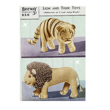 TOY PATTERN Vintage Knitting Crochet Pattern 70s Lion and Tiger Toys Patterns
