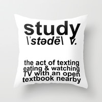 Study Definition Throw Pillow by LookHUMAN