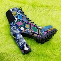 "CR Winnie Lace Up Ankle Boots 4.5""  Chunky Heels 6 -11 Colorful Multi Snake"