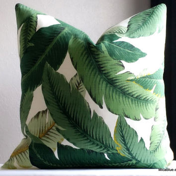 Indoor/Outdoor Tommy Bahama green palm pillow cover, all sizes available. fabric both sides. beach house decor
