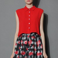 Cheer Red Chiffon Cropped Top