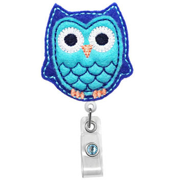 Cute Double Blue Owl - Name Badge Holder - Nurses Badge Holder - Cute Badge Reels - Unique ID Badge Holder - Felt Badge - RN Badge Reel
