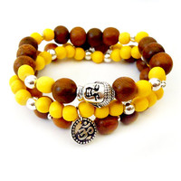Silver and Wood Beaded Buddha Om Stretch Bracelet Set