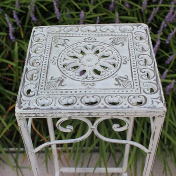 Chippy shabby chic metal plant stand, distressed and hand-painted in Annie Sloan Old White chalk paint