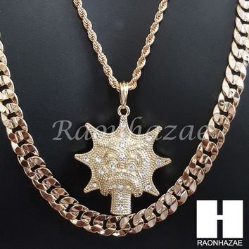 "MEN ICED OUT GLO GANG CHAIN DIAMOND CUT 30"" CUBAN LINK CHAIN NECKLACE S071"
