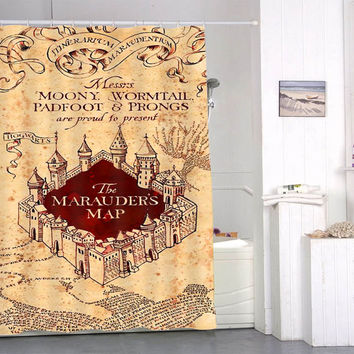 The Marauders Map Shower Curtains special custom shower curtains that will make your bathroom adorable