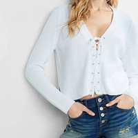 Lace Up Pullover Sweater from EXPRESS