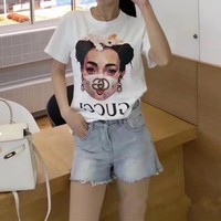 """Gucci"" Women Loose Casual Personality Sequin Beauty Pattern Print Letter Short Sleeve T-shirt Top Tee"