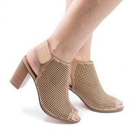 Roadway Tan Pu By City Classified, Peep Toe Laser Perforated Stacked Block Heeled Sandals