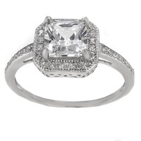 Sterling Silver Halo CZ Princess Cut Engagement Ring size 4-9
