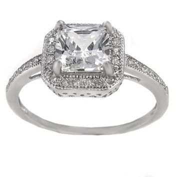 Sterling Silver Halo CZ Princess Cut Engagement Ring size 4 5 6 7 8 9
