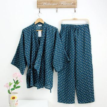 Summer Men Japanese Kimono robe Pajamas Suit male japan Cotton Double Gauze Fabric Loose Sleepwear Nightgown Top & Buttoms Set