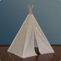 Dexton 6ft Hideaway Five Panel Teepee w/ Glow in the dark Stars - Natural - DX-3006G