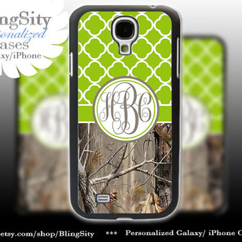 Monogram Galaxy S4 case S5 Real Tree Camo Apple Green Quatrefoil Personalized RealTree Samsung Galaxy S3 Case Note 2 3 Cover