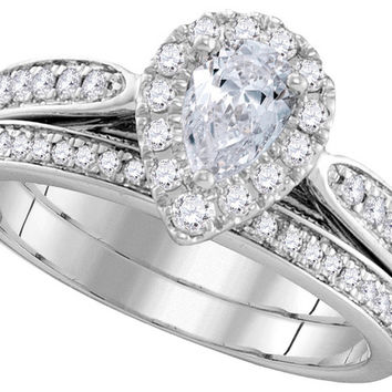 14kt White Gold Womens Pear Diamond Bridal Wedding Engagement Ring Band Set 1.00 Cttw 106299