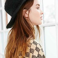 BDG Stitched Velour Panama Hat- Black One