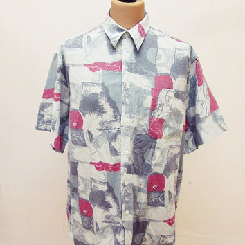 Vintage 80s Grey red White Crazy Pattern Shirt XL