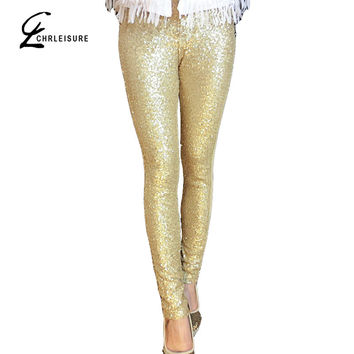 CHRLEISURE S-L Women's Sequins Leggings Fashion Bling Shining Gold Black Silver Spangle Sequin Formal Women Leggings