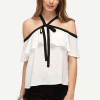 White Ruffle Halter Off The Shoulder Blouse | MakeMeChic.COM