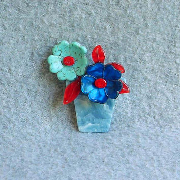 Lea Stein Pin Flower Pot Brooch Blooming Pansies French Designer Figural Celluloid Vintage Jewelry Signed Paris France Blue Red Navy 2 1/4""