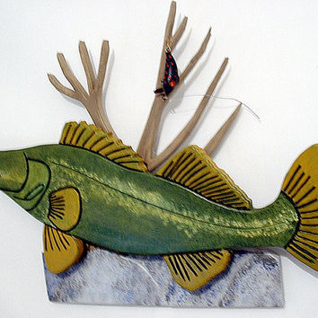 Walleye Wood Sculpture Fisherman Wall Decor Trophy This Fish Wall Art Wall Hanging Great for Office Decor Man Cave Decor Wooden Art,