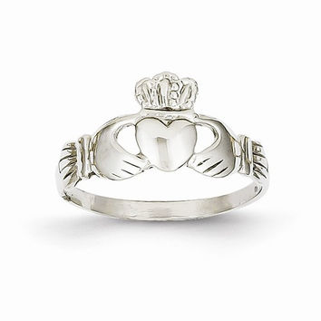 14kt white gold ladies claddagh ring