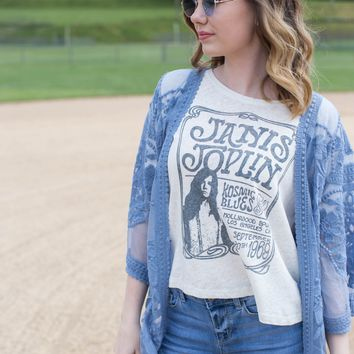 Janis Joplin Kosmic Blues Tee, Off White