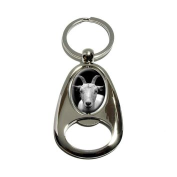 Goat Head - Black and White - Chrome Plated Metal Spinning Oval Design Bottle Opener Keychain
