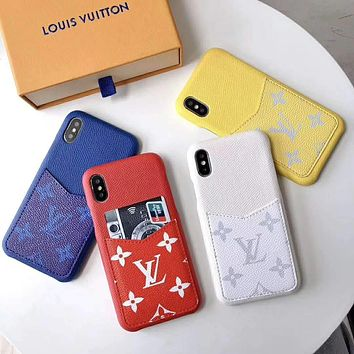 LV 2019 new iPhone 8 leather case card phone case cover