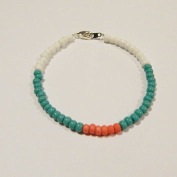 Turquoise and Coral Seed Bead Bracelet, Turquoise Beaded Bracelet, Coral Beaded Bracelet, Bohemian Stacking Bracelets, Beaded Bracelet