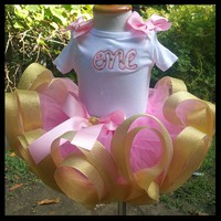 pink tutu, first birthday tutu, gold tutu, pink and gold tutu,