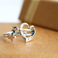 Star and Heart Silver Ring Sterling Ring .925 Silver Ring Personalized Ring