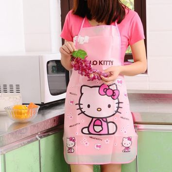 Cute Cartoon Hello Kitty Apron Kit Bib Apron Long Sleeveless Waterproof Oilproof BBQ Kitchen Aprons For Men And Women