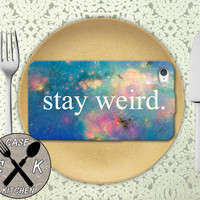 Stay Weird Galaxy Space Stars Cute Tumblr Inspired Custom Rubber Tough Phone Case For The iPhone 4 and 4s and iPhone 5 and 5s and 5c