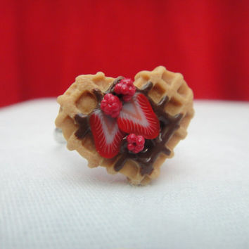 Strawberry and Raspberry Waffle - Adjustable Ring - Miniature Food