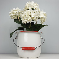 Vintage Chippy Enamel Bucket White and Red Wooden Handle Enamelware Pail Rustic Decor Farmhouse Decor Vase Centerpiece Garden Planter