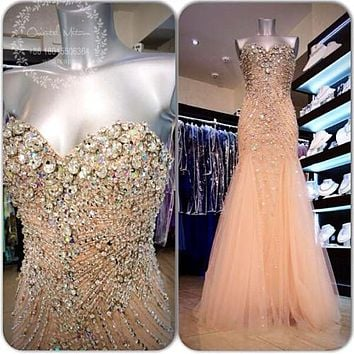 Luxury Beaded Rhinestones Long Prom Dresses 2017 Champagne Tulle Crystal Sweetheart Mermaid Prom Dresses Party Evening Gowns