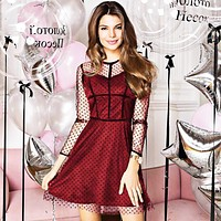 Best selling summer new women's mesh polka dot dress(Only one piece) Red