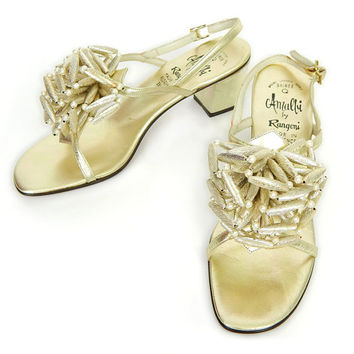 Vintage 60s Metallic Gold Amalfi Leather Sandals - Size 7 N - Women's Mod Golden Beaded Starburst Pom Pom Italian Designer Evening Shoes