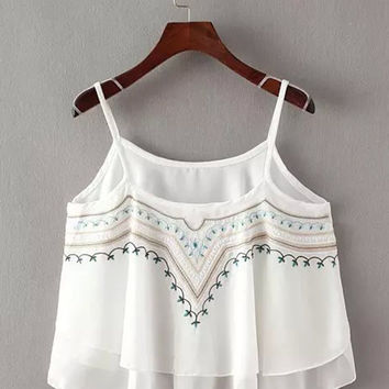White Tribal Embroidered Frill Cami Crop Top