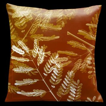 Lama Kasso 137S Impressions Rich Tan with Gold and White Accents 18 x 18 Microsuede Pillow