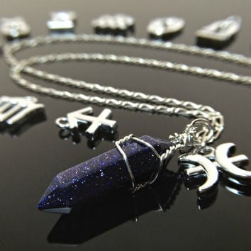 Zodiac Necklace - Crystal Necklace Galaxy Jewelry Astrology Necklace Gypsy Jewelry