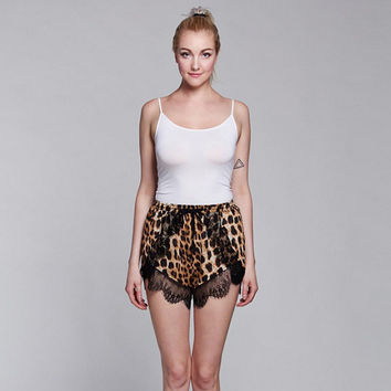 Leopard Print Shorts with Lace