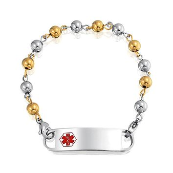 Medical Alert ID Bracelet Bead Chain Gold Plated Stainless Steel