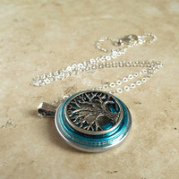 Tree of Life Necklace: Aqua - Wiccan Pendant - Celtic Jewelry - Tree Jewelry - Mothers Day - Unique Jewelry - Pendant Necklace