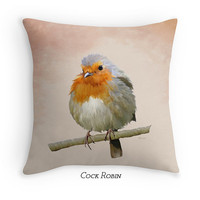 Garden BirdsThrow Pillow, Robin Scatter Cushion, Gardener Gift, Cushion Cover, Bird Lover Gift