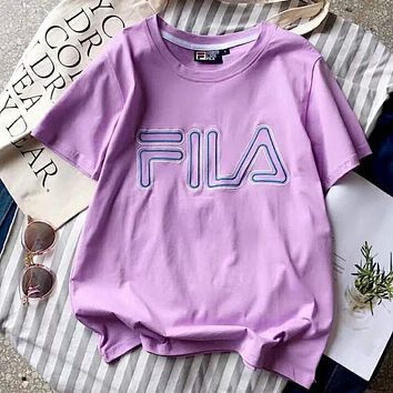 FILA Trending Women Men Stylish Embroidery Short Sleeve Round Collar T-Shirt Top Purple I-YF-MLBKS
